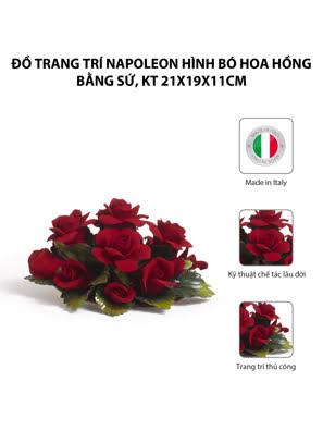 Đồ trang trí Napoleon hình bó hoa hồng bằng sứ,kt 21x19x11cm,code 1662/09