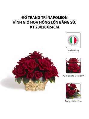 Đồ trang trí Napoleon hình giỏ hoa hồng lớn bằng sứ,kt 28x20x24cm,code 1678FO/09