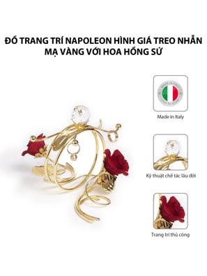 Đồ trang trí Napoleon hình giá treo nhẫn mạ vàng với hoa hồng sứ,kt 22x11x10.5cm,code 8398/09