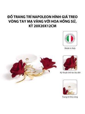 Đồ trang trí Napoleon hình giá treo vòng tay mạ vàng với hoa hồng sứ,kt 20x20x12cm,code 8399/09