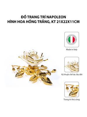 Đồ trang trí Napoleon hình hoa hồng trắng,kt 21x22x11cm,code 8043/07