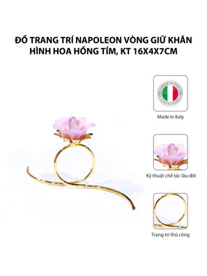 Đồ trang trí Napoleon vòng giữ khăn hình hoa hồng tím,kt 16x4x7cm,code 8510/45