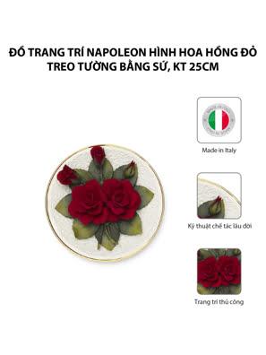 Đồ trang trí Napoleon hình hoa hồng đỏ treo tường bằng sứ,kt 25cm,code 1065/09