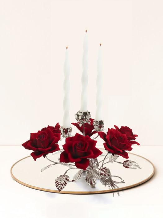 Đồ trang trí Chân nến bằng sứ hình hoa hồng đỏ,kt 45x45x25cm, code: 6386/17