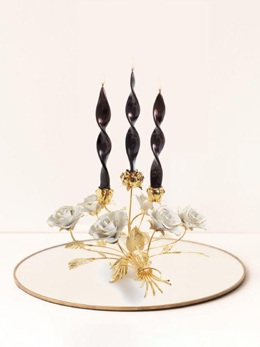 Đồ trang trí Chân nến bằng sứ hình hoa hồng,kt 40x42x25cm - code: 8385-07