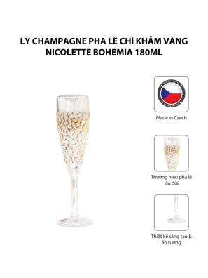 Bộ 6 ly champagne pha lê chì khảm vàng Nicolette Bohemia 180ml