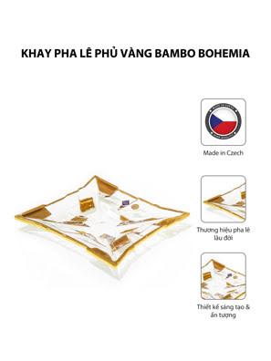 Khay pha lê phủ vàng Bambo Bohemia