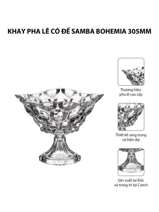 Khay pha lê có đế Samba Bohemia 305mm | Moriitalia