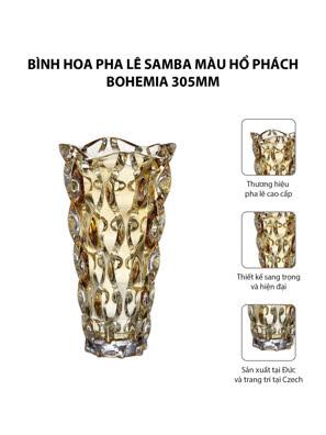 Bình hoa pha lê Samba màu hổ phách Bohemia 305mm