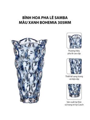 Bình hoa pha lê Samba màu xanh Bohemia 305mm