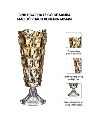Bình hoa pha lê có đế Samba màu hổ phách Bohemia 405mm