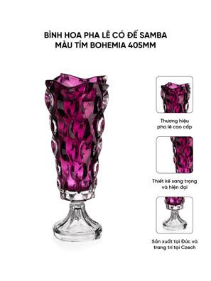 Bình hoa pha lê có đế Samba màu tím Bohemia 405mm