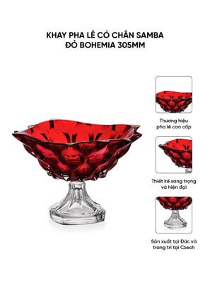 Khay pha lê có chân Samba đỏ Bohemia 305mm