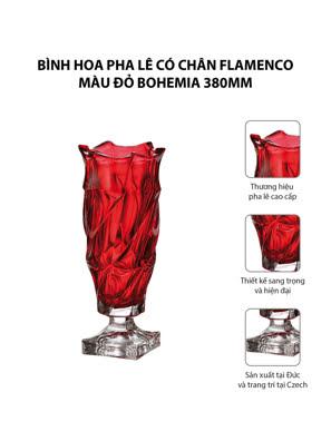 Bình hoa pha lê có chân Flamenco màu đỏ Bohemia 380mm