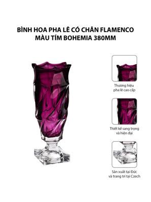 Bình hoa pha lê có chân Flamenco màu tím Bohemia 380mm