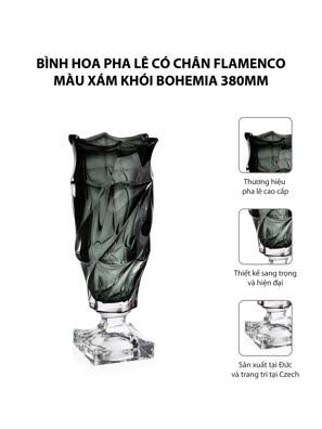 Bình hoa pha lê có chân Flamenco màu xám khói Bohemia 380mm