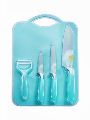 Bộ dao thớt hoa 5 món - 001724