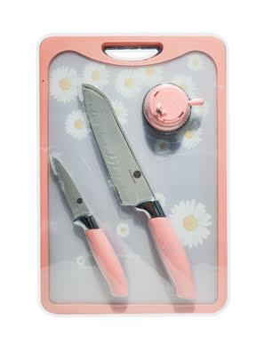 Bộ dao thớt hoa 4 món 007108P