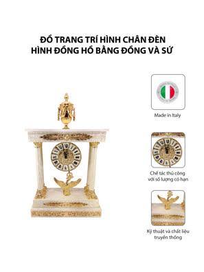 Đồ trang trí hình chân đèn hình đồng hồ bằng đồng và sứ - OLYMPUS502