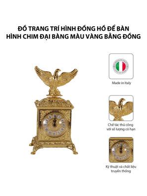 Đồ trang trí hình đồng hồ để bàn hình chim đại bàng màu vàng bằng đồng - OLYMPUS408