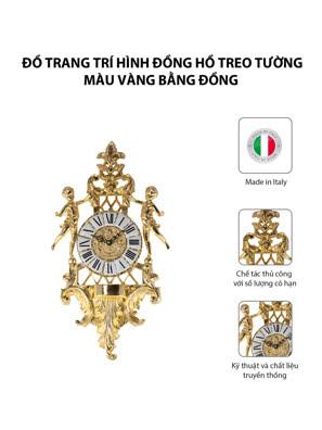Đồ trang trí hình đồng hồ treo tường màu vàng bằng đồng - OLYMPUS615