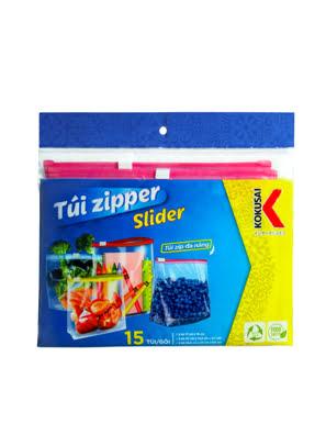 Túi Zipper Slider đựng thực phẩm đa dụng trong suốt đáy rộng KOKUSAI (3 Size 15 túi/hộp) - 007498